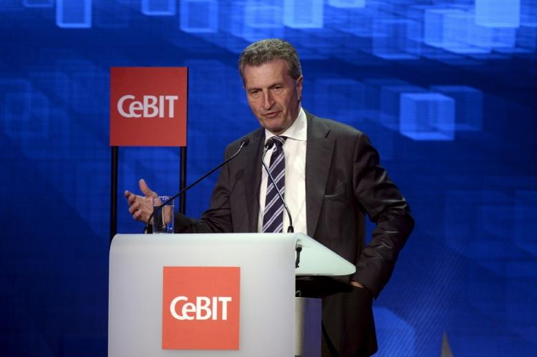 Guenther Oettinger  in Hanover, Germany, March 14, 2016. REUTERS/Nigel Treblin