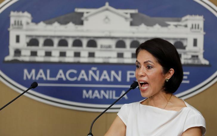 Philippine Environment secretary Regina Lopez speaks during a press briefing in Manila, Philippines February 9, 2017.  REUTERS/Erik De Castro