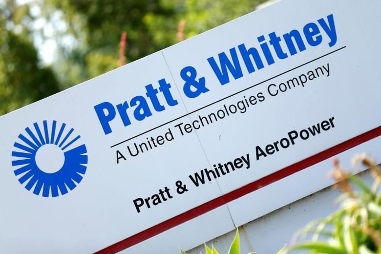 The logo of Dow Jones Industrial Average stock market index listed company United Technologies and their subsidiary Pratt & Whitney is pictured in San Diego, California April 21, 2016.  REUTERS/Mike Blake/File Photo
