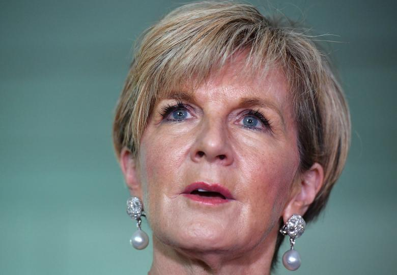 Australia's Minister for Foreign Affairs Julie Bishop speaks during a news conference at the Parliament House in Canberra, Australia, March 1, 2017. AAP/Mick Tsikas/via REUTERS