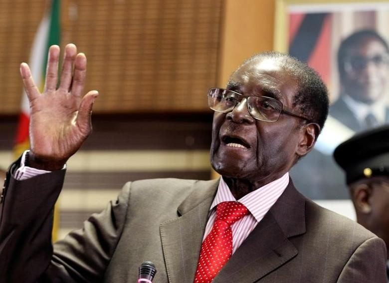 Zimbabwe's President Robert Mugabe gestures during his 93rd birthday celebrations in Harare, Zimbabwe, February 21, 2017. REUTERS/Philimon Bulawayo