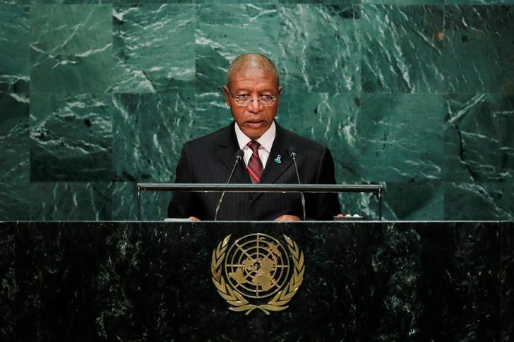 Prime Minister Pakalitha Mosisili of Lesotho addresses the United Nations General Assembly in the Manhattan borough of New York, U.S., September 23, 2016.  REUTERS/Eduardo Munoz/Files