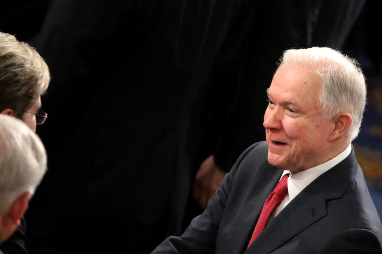 U.S Attorney General Jeff Sessions arrives to attend an a speech by U.S. President Donald Trump at a joint session of congress in Capitol in Washington, U.S., February 28, 2017. Picture taken February 28, 2017. REUTERS/Carlos Barria