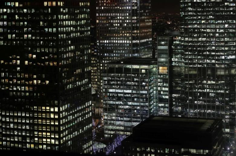 FILE PHOTO:  Offices in the financial district of Canary Wharf in London, Britain, January 19, 2017.  REUTERS/Kevin Coombs/File Photo