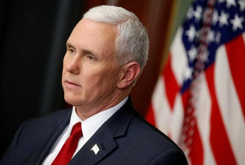 U.S. Vice President Mike Pence speaks before swearing in Ryan Zinke to be Secretary of the Interior, in Washington, U.S., March 1, 2017. REUTERS/Joshua Roberts