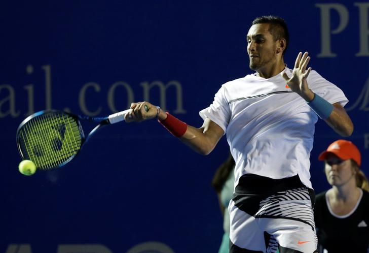 Tennis - Mexican Open - Men's Singles - Quarter-Final - Acapulco, Mexico - 02/03/17 - Australia's Nick Kyrgios in action against Serbia's Novak Djokovic. REUTERS/Henry Romero