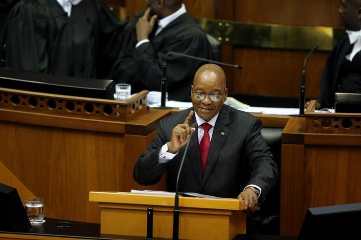 President Jacob Zuma delivers his State of the Nation Address (SONA) to a joint sitting of the National Assembly and the National Council of Provinces in Cape Town, South Africa February 9, 2017. REUTERS/Sumaya Hisham