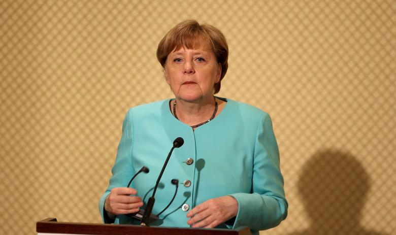 German Chancellor Angela Merkel  speaks during a news conference with Tunisia's President Beji Caid Essebsi in Tunis, Tunisia, March 3, 2017. REUTERS/Zoubeir Souissi