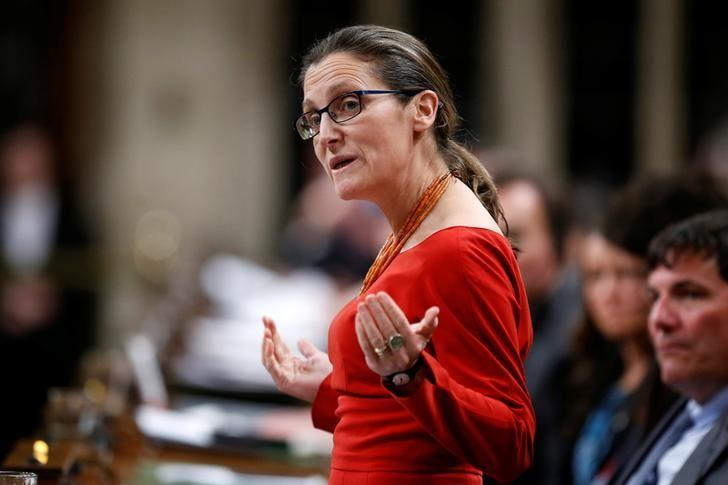 Canada's Foreign Minister Chrystia Freeland speaks during Question Period in the House of Commons on Parliament Hill in Ottawa, Ontario, Canada, March 6, 2017. REUTERS/Chris Wattie