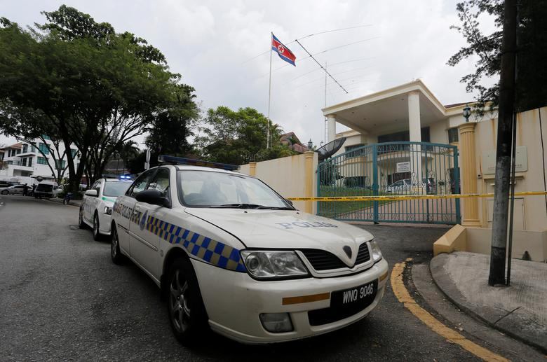 Police cars block the entrance of a sealed off North Korea embassy in Kuala Lumpur, Malaysia March 7, 2017. REUTERS/Lai Seng Sin