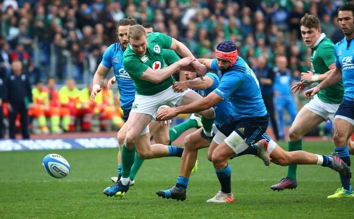 Rugby Union - Italy v Ireland - Six Nations Championship - Stadio Olimpico, Rome - 11/2/17 Ireland's Keith Earls in action with Italy's Angelo Esposito  Reuters / Alessandro Bianchi Livepic