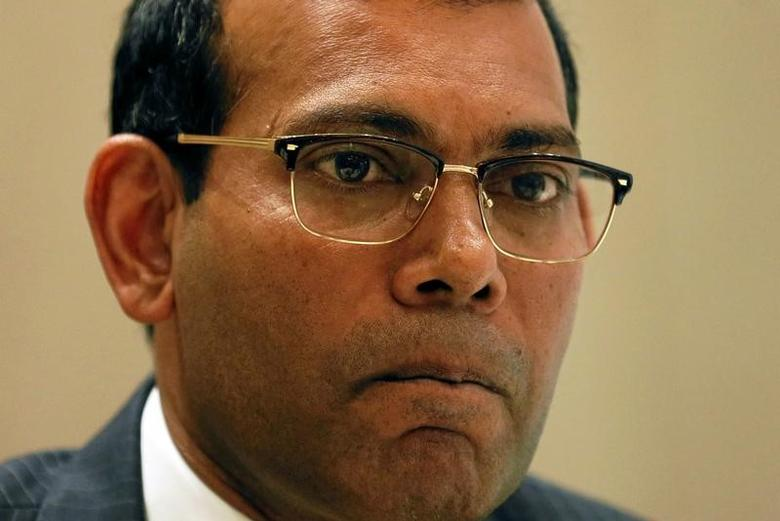 Maldives former president Mohamed Nasheed looks on during a news conference in Colombo, Sri Lanka February 9, 2017. REUTERS/Dinuka Liyanawatte