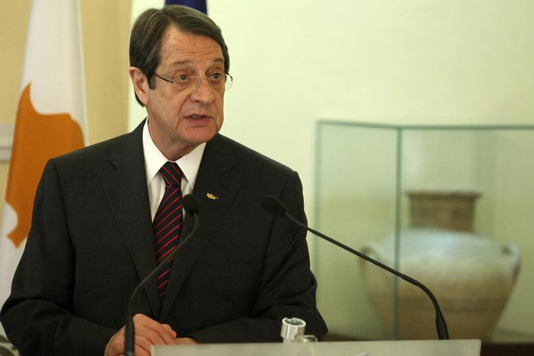 Cypriot President Nicos Anastasiades attends a news conference after the meeting with Maltese Prime Minister Joseph Muscat at the Presidential Palace in Nicosia, Cyprus March 2, 2017. REUTERS/Yiannis Kourtoglou