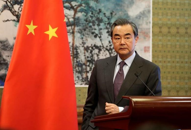 China's Foreign Minister Wang Yi attends a joint news conference with Mongolian Foreign Minister Tsend Munkh-Orgil (not in picture) at Diaoyutai State Guesthouse, in Beijing, China February 20, 2017. REUTERS/Jason Lee