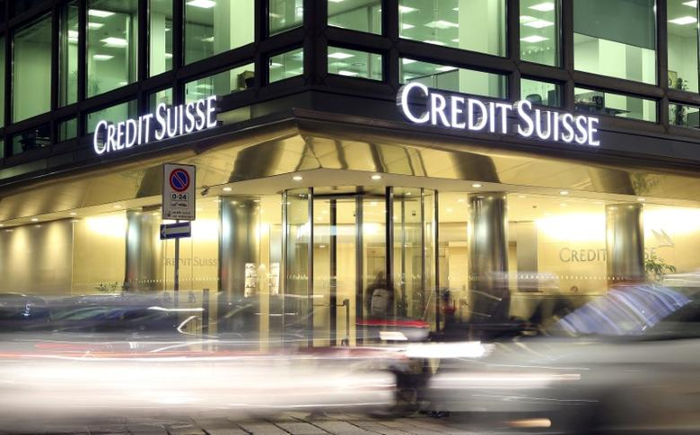 The Credit Suisse logo is seen at the headquarters in Milan, Italy, March 9, 2016.    REUTERS/Stefano Rellandini/File Photo