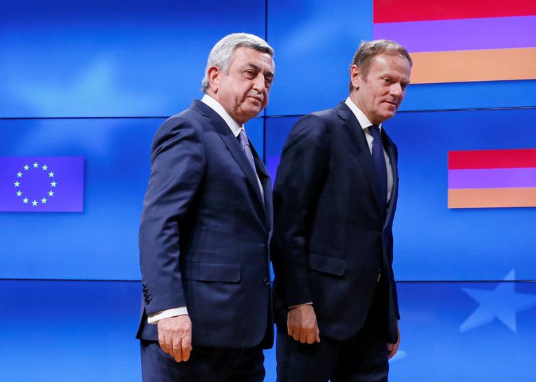 Armenia's President Serzh Sargsyan (L) walks next to European Council President Donald Tusk after a joint news statement in Brussels, Belgium February 27, 2017. REUTERS/Yves Herman
