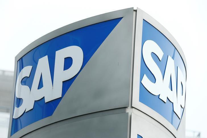 SAP logo at SAP headquarters in Walldorf, Germany, January 24, 2017.   REUTERS/Ralph Orlowski