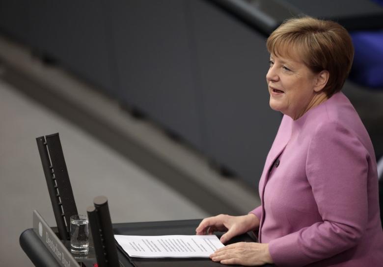 German Chancellor Angela Merkel addresses the German lower house of parliament Bundestag in Berlin, Germany, March 9, 2017.    REUTERS/Axel Schmidt