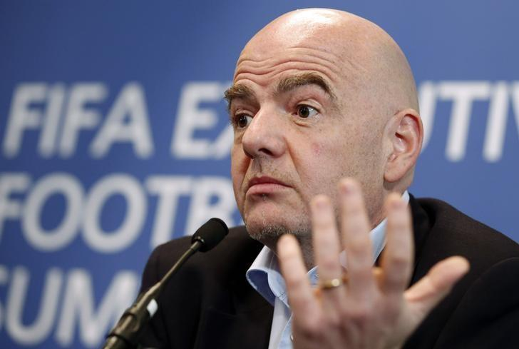 Britain Football Soccer - FIFA Executive Football Summit Press Conference - Hilton Hotel, Heathrow Airport, London, England - 9/3/17 FIFA president Gianni Infantino during the press conference Action Images via Reuters / Matthew Childs Livepic