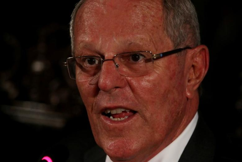 Peru's President Pedro Pablo Kuczynski addresses a news conference with foreign media at the government palace in Lima, Peru, March 9, 2017. REUTERS/Mariana Bazo