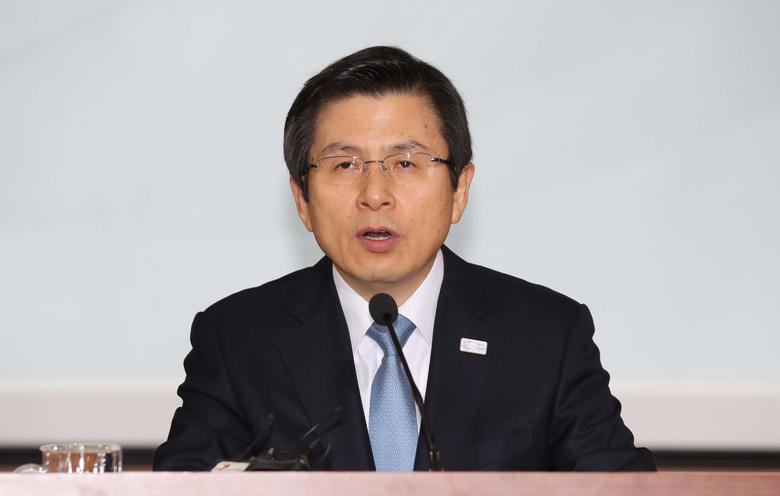 South Korea's Prime Minister and acting President Hwang Kyo-ahn speaks during a meeting at the Government Complex in Seoul, South Korea February 27, 2017.   Yonhap/Baek Seung-ryol via REUTERS