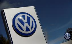 FILE PHOTO: A Volkswagen logo is pictured at Volkswagen's headquarters in Wolfsburg, Germany, April 22, 2016. REUTERS/Hannibal Hanschke/File Photo