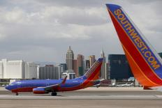 Southwest Airlines planes are seen in front of the Las Vegas strip, Nevada, United States in this April 23, 2015, file photo. REUTERS/Lucy Nicholson/Files