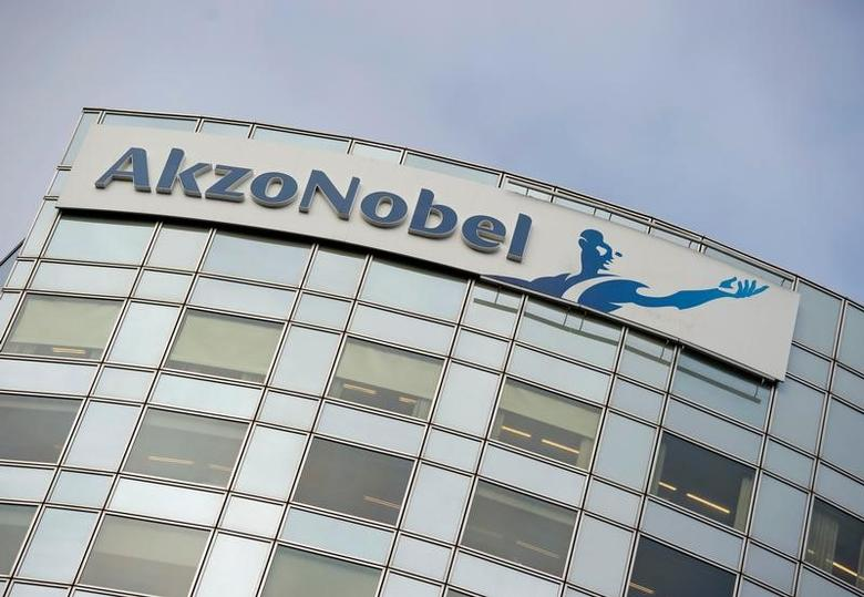 FILE PHOTO:  AkzoNobel's logo is seen in Amsterdam, Netherlands, February 16, 2012.    REUTERS/Robin van Lonkhuijsen/United Photos/File Photo
