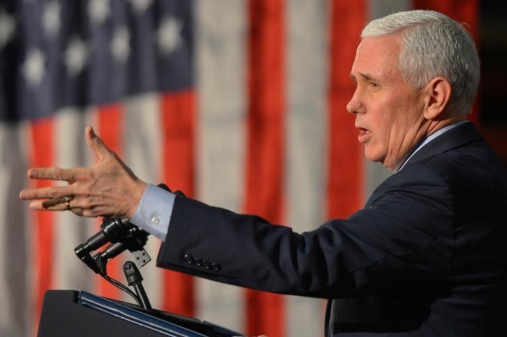 US Vice President Mike Pence speaks about the American Health Care Act during a visit to the Harshaw-Trane Parts and Distribution Center in Louisville, Kentucky, U.S., March 11, 2017.  REUTERS / Bryan Woolston
