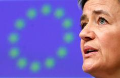Комиссар ЕС по защите конкуренции Маргрет Вестагер на пресс-конференции в Брюсселе 13 марта 2017 года. Газпром готов соблюдать правила ЕС, чтобы положить конец пятилетней антимонопольной тяжбе и избежать штрафа, сказала Вестагер, обозначив потепление отношений между Москвой и Брюсселем, несмотря на трения из-за Украины. REUTERS/Francois Lenoir