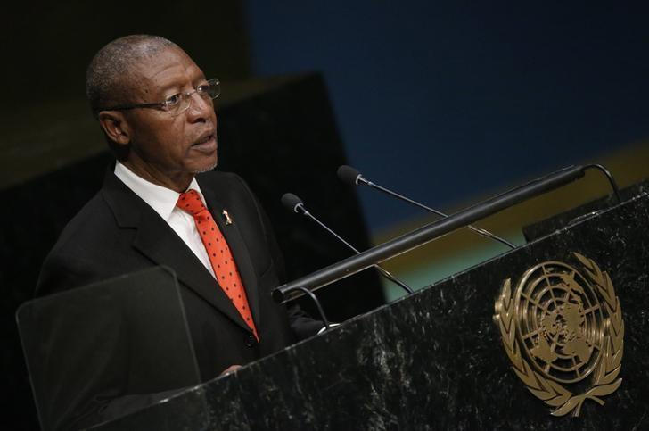 Prime Minister Pakalitha Bethuel Mosisili of Lesotho addresses attendees during the 70th session of the United Nations General Assembly at the U.N. headquarters in New York, October 1, 2015.   REUTERS/Carlo Allegri