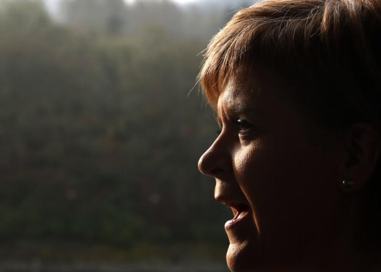 Scotland's First Minister Nicola Sturgeon gives a TV interview at SSE's new Pitlochry Dam Visitor Centre Pitlochry Scotland Britain, February 6, 2017. REUTERS/Russell Cheyne