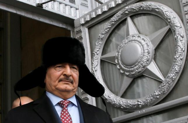 General Khalifa Haftar, commander in the Libyan National Army (LNA), leaves after a meeting with Russian Foreign Minister Sergei Lavrov in Moscow, Russia, November 29, 2016. REUTERS/Maxim Shemetov/File Photo