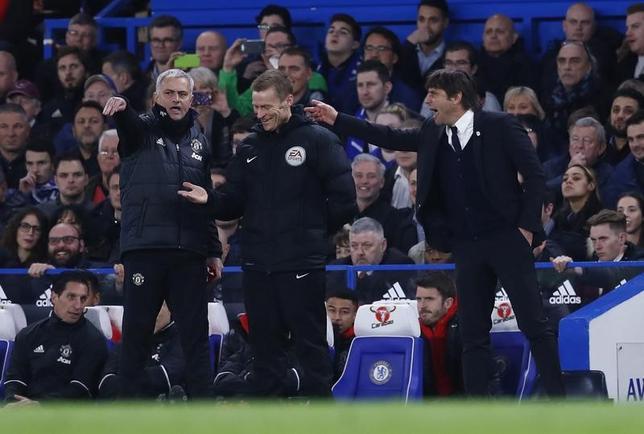 3月13日、サッカーのイングランド・プレミアリーグ、マンチェスター・ユナイテッドのジョゼ・モウリーニョ監督(左)は、チェルシーのアントニオ・コンテ監督(右)について、欧州カップ戦の試合がないため有利であるとの見方を示した(2017年 ロイター)