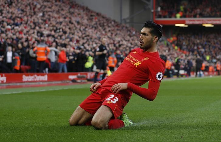 Britain Football Soccer - Liverpool v Burnley - Premier League - Anfield - 12/3/17 Liverpool's Emre Can celebrates scoring their second goal  Reuters / Phil Noble