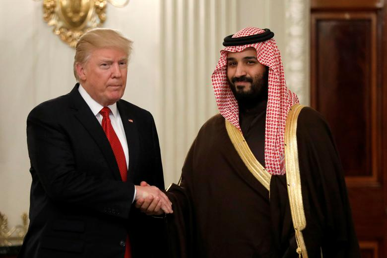 U.S. President Donald Trump and Saudi Deputy Crown Prince and Minister of Defense Mohammed bin Salman meet at the White House  in Washington, U.S., March 14, 2017. REUTERS/Kevin Lamarque