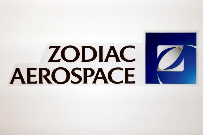 The logo of French aircraft seats and equipment manufacturer Zodiac Aerospace is seen during the company's first half of the 2015/2016 fiscal year presentation in Paris, France, April 20, 2016. REUTERS/Benoit Tessier/File Photo