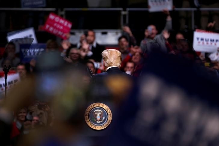 U.S. President Donald Trump holds a rally at Municipal Auditorium in Nashville, Tennessee, U.S. March 15, 2017. REUTERS/Jonathan Ernst/Files
