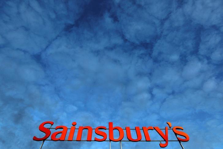 FILE PHOTO:  A Sainsbury's supermarket sign is seen in London, Britain, January 11, 2012.    REUTERS/Stefan Wermuth/File Photo