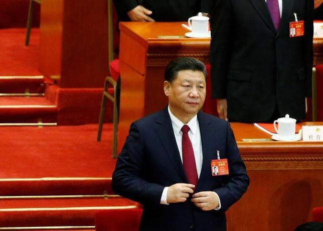 3月15日、中国の第12期全国人民代表大会(全人代)第5回会議は、全く波乱のないまま台本通りに進み閉幕した。写真は習近平国家主席。北京で撮影(2017年 ロイター/Thomas Peter)
