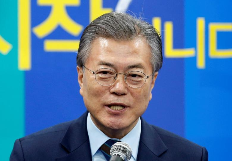 The Democratic Party's candidate for the presidential primary Moon Jae-in makes a speech at an event to declare their fair contest in the partyÕs presidential primary in Seoul, South Korea, March 14, 2017. REUTERS/Kim Kyung-Hoon