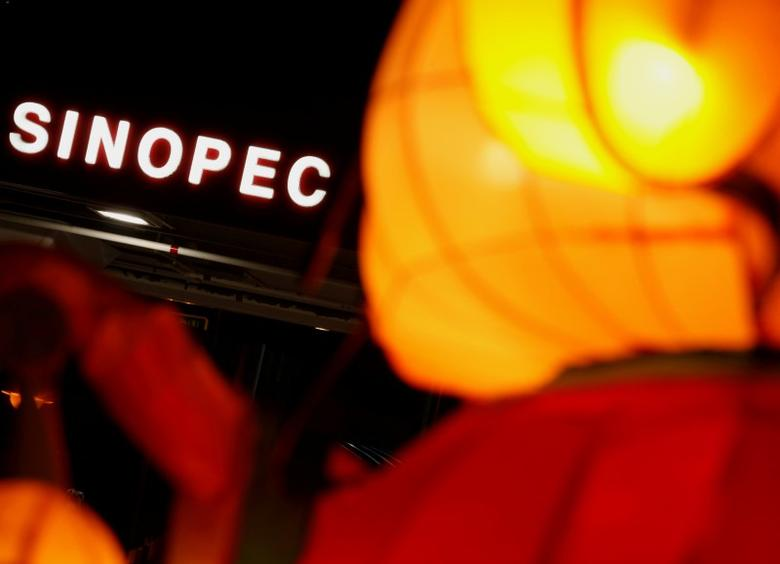 FILE PHOTO: A Sinopec sign displayed at its gas station is seen behind a Chinese New Year lantern installation in Hong Kong February 5, 2013.  REUTERS/Bobby Yip/File Photo