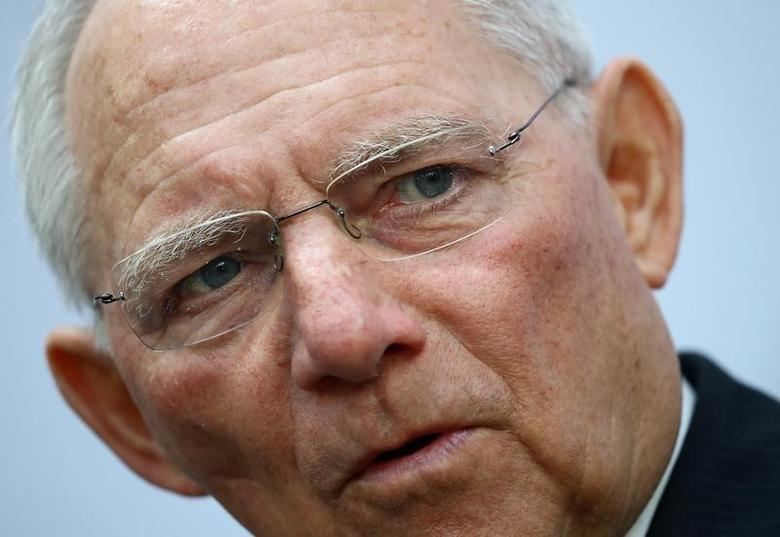 German Finance Minister Wolfgang Schaeuble talks to reporters during the G20 Finance Ministers and Central Bank Governors Meeting in Baden-Baden, Germany, March 17, 2017.   REUTERS/Kai Pfaffenbach
