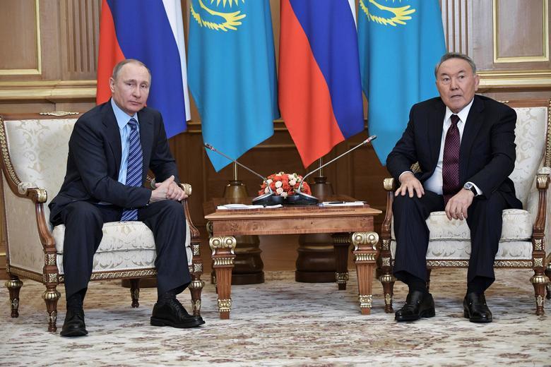 Russia's President Vladimir Putin meets with Kazakh President Nursultan Nazarbayev in Almaty, Kazakhstan,  February 27, 2017. Sputnik/Alexei Nikolsky/Kremlin via REUTERS