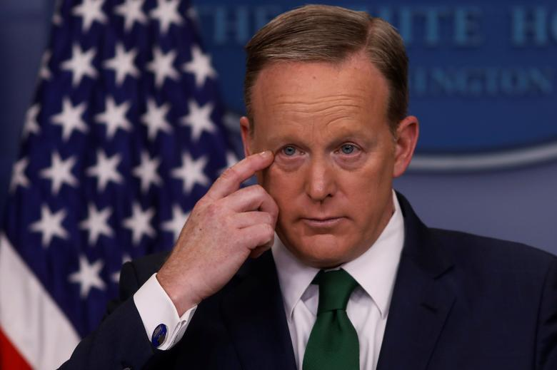 FILE PHOTO: White House Press Secretary Sean Spicer holds his daily press briefing at the White House in Washington, U.S. March 16, 2017.  REUTERS/Jonathan Ernst