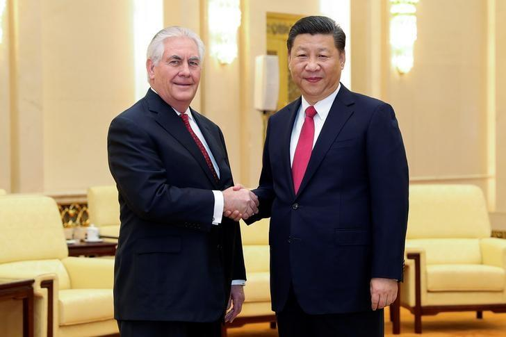 Chinese President Xi Jinping (R) shakes hands with U.S. Secretary of State Rex Tillerson before their meeting at at the Great Hall of the People on March 19, 2017 in Beijing, China.  REUTERS/Lintao Zhang/Pool     TPX IMAGES OF THE DAY      *** Local Caption *** Xi Jinping;Rex Tillerson - RTX31OSX