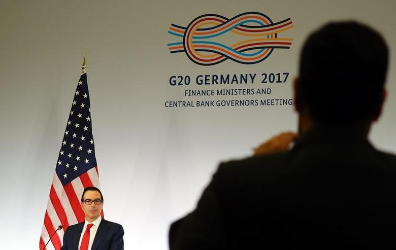 U.S. Treasury Secretary Steve Mnuchin addresses a news conference at the G20 Finance Ministers and Central Bank Governors Meeting in Baden-Baden, Germany, March 18, 2017.      REUTERS/Kai Pfaffenbach    TPX IMAGES OF THE DAY - RTX31MRT