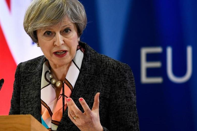 Britain's Prime Minister Theresa May attends a news conference during the EU Summit in Brussels, Belgium, March 9, 2017. REUTERS/Dylan Martinez/Files