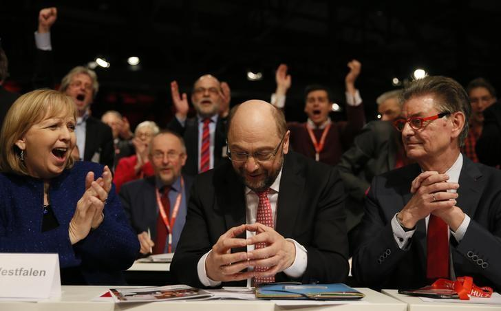 Martin Schulz reacts after he was elected new Social Democratic Party (SPD) leader during an SPD party convention in Berlin, Germany, March 19, 2017.     REUTERS/Axel Schmidt
