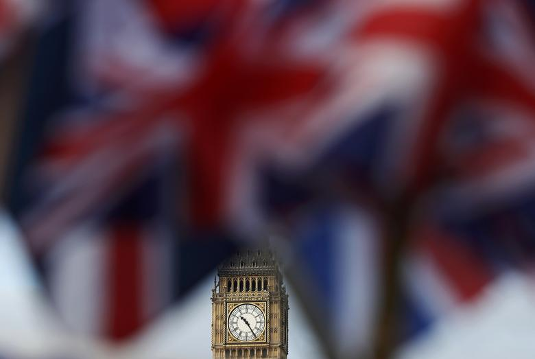 Union flags flutter near the Houses of Parliament in London, Britain, February 20, 2017. REUTERS/Stefan Wermuth